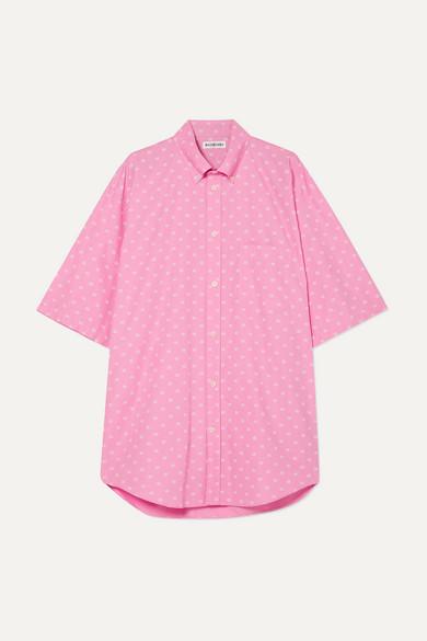 BALENCIAGA | Balenciaga - Oversized Printed Cotton-Poplin Shirt - Baby Pink | Goxip