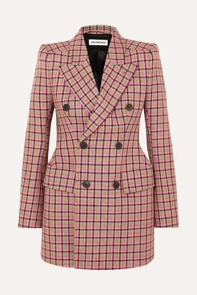 BALENCIAGA   Balenciaga - Hourglass Checked Wool Blazer - Pink   Goxip