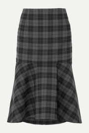 Balenciaga Ruffled checked twill midi skirt