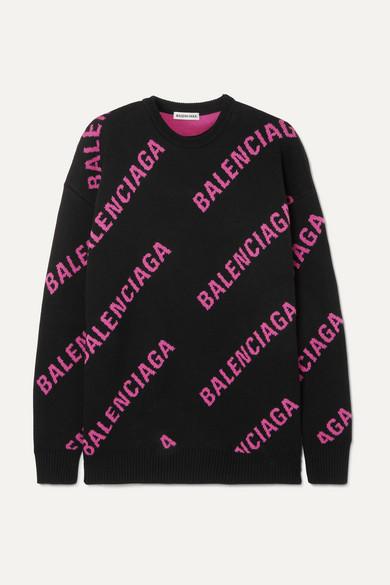 BALENCIAGA | Balenciaga - Oversized Intarsia Cotton-Blend Sweater - Black | Goxip