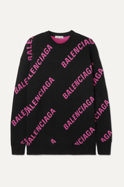 Balenciaga Oversized intarsia cotton-blend sweater