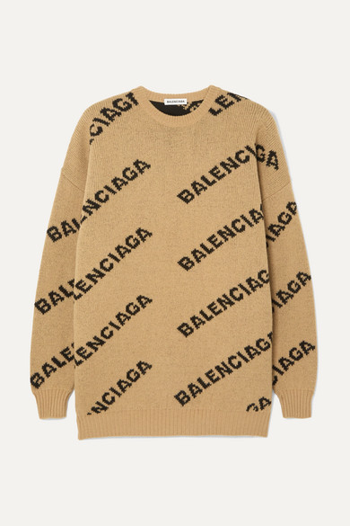 BALENCIAGA | Balenciaga - Oversized Intarsia Wool-Blend Sweater - Beige | Goxip