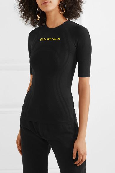 Balenciaga Tops Printed textured stretch-jersey top