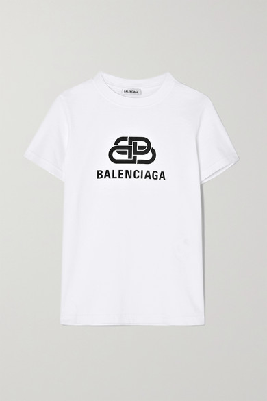 BALENCIAGA | Balenciaga - Printed Cotton-Jersey T-Shirt - White | Goxip