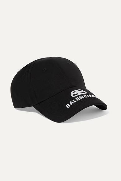 BALENCIAGA | Balenciaga - Embroidered Cotton-Twill Baseball Cap - Black | Goxip