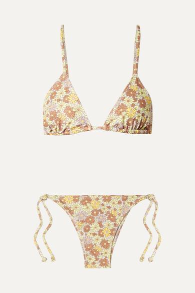 f154ebe4fe Faithfull The Brand Aira Floral-Print Triangle Bikini In Peach   ModeSens