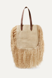 + NET SUSTAIN Aurora leather-trimmed fringed woven raffia tote