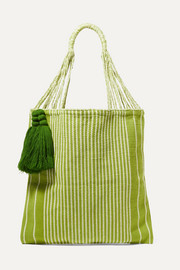 Nannacay + NET SUSTAIN Bianca tasseled striped crocheted cotton-blend tote