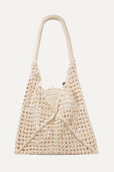 NANNACAY | Nannacay - Luna Leather-Trimmed Crocheted Cotton Shoulder Bag - Cream | Goxip