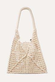 Nannacay + NET SUSTAIN Luna leather-trimmed crocheted cotton shoulder bag