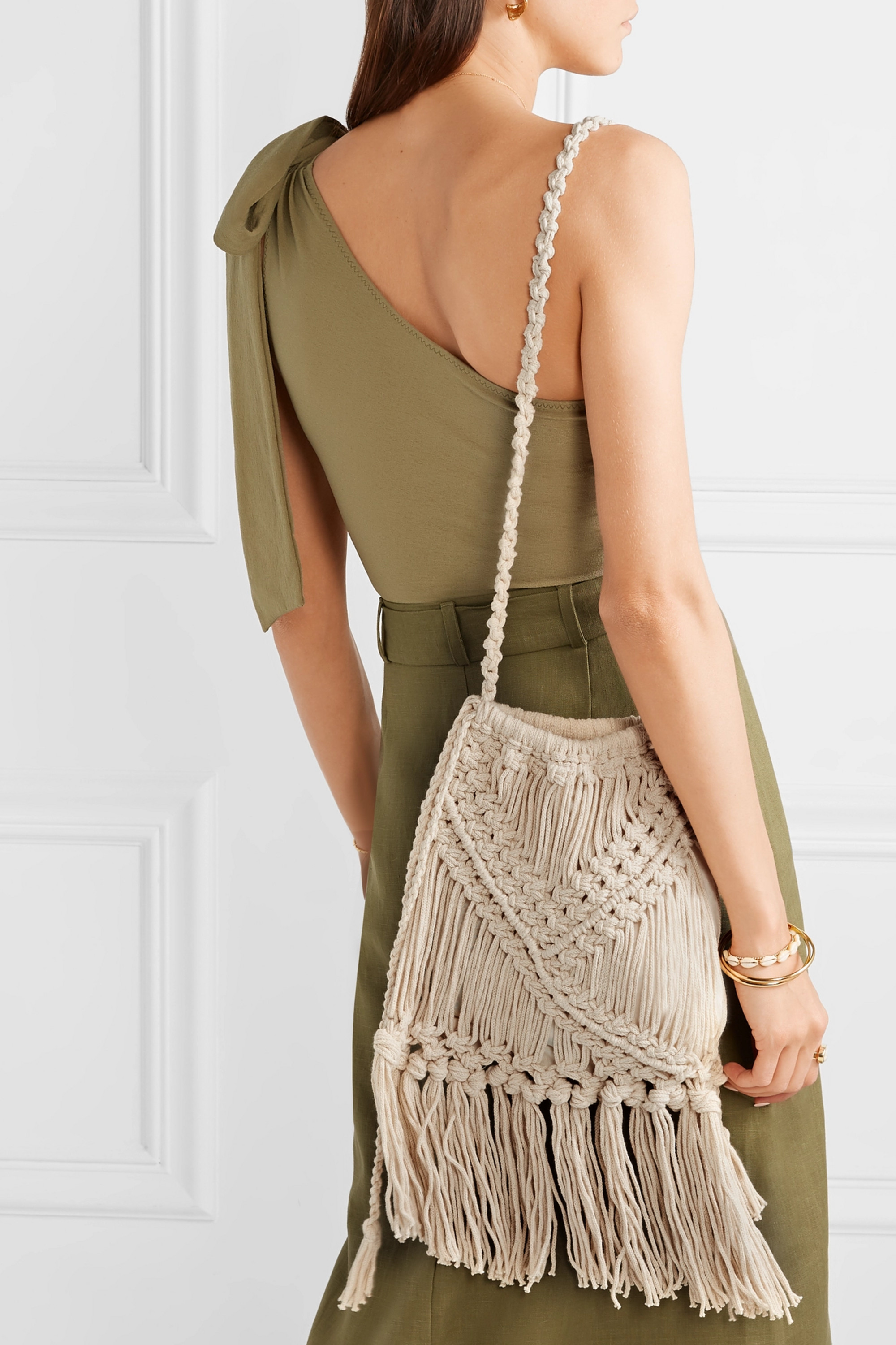 Nannacay + NET SUSTAIN Lucy fringed crocheted cotton shoulder bag