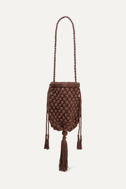 Electra tasseled crocheted shoulder bag