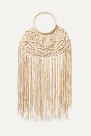 + NET SUSTAIN Manu fringed crocheted tote