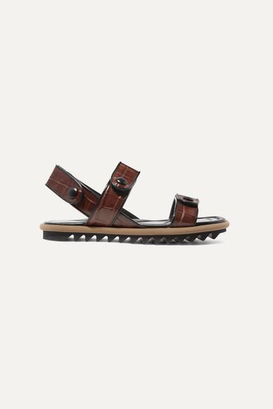 Dries Van Noten Sandals Croc-effect leather sandals