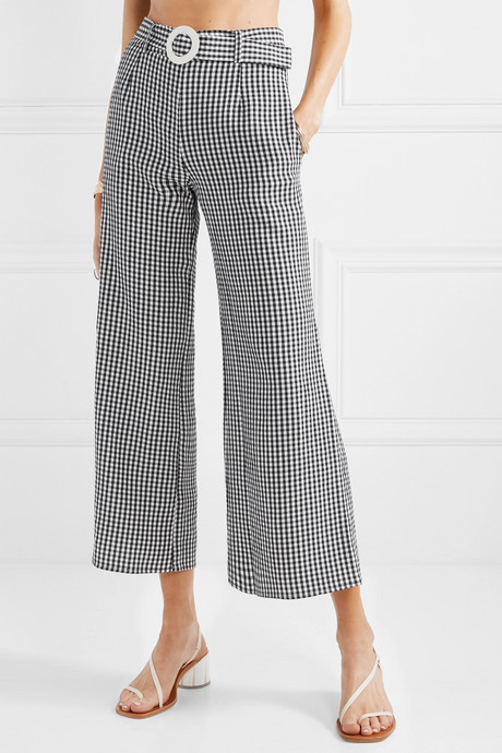 Belted cropped gingham seersucker wide-leg pants