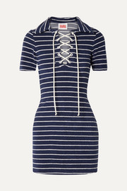 Solid & Striped The Polo striped cotton-blend terry mini dress