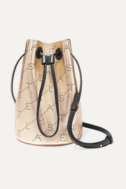 Stella McCartney + NET SUSTAIN mini perforated metallic faux leather bucket bag