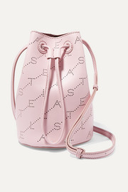 Stella McCartney + NET SUSTAIN mini perforated faux leather bucket bag
