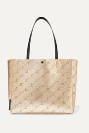 Stella McCartney + NET SUSTAIN perforated metallic faux leather tote