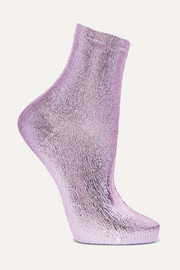 Metallic coated silk-blend socks