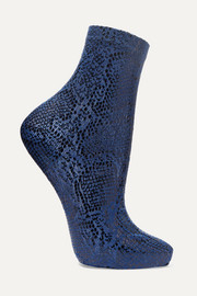 Metallic coated printed silk-blend socks