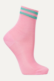 Striped silk-blend socks