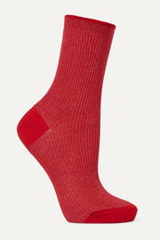 Ribbed metallic wool-blend socks