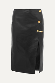 Versace Embellished leather skirt