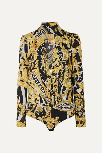 Printed Crepe Bodysuit by Versace