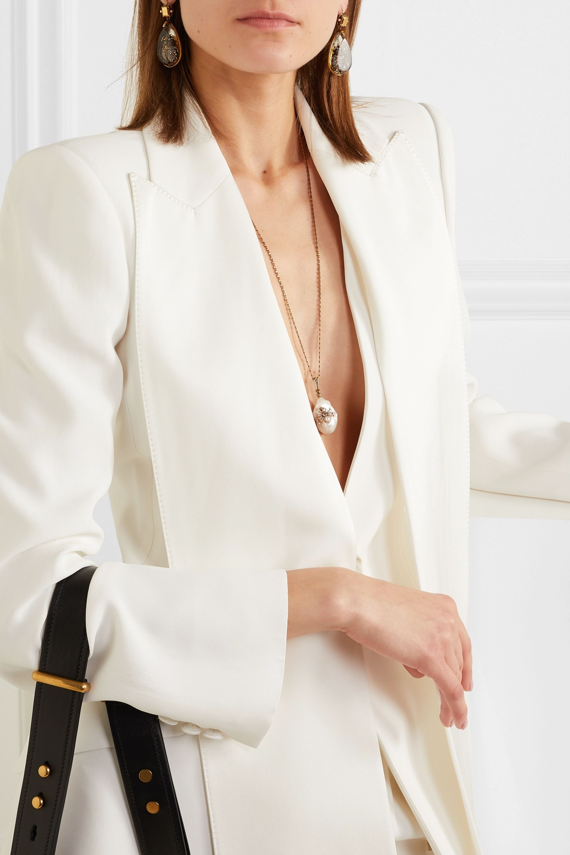 Alexander McQueen Collier en métal doré, perles, perle synthétique et cristaux Swarovski