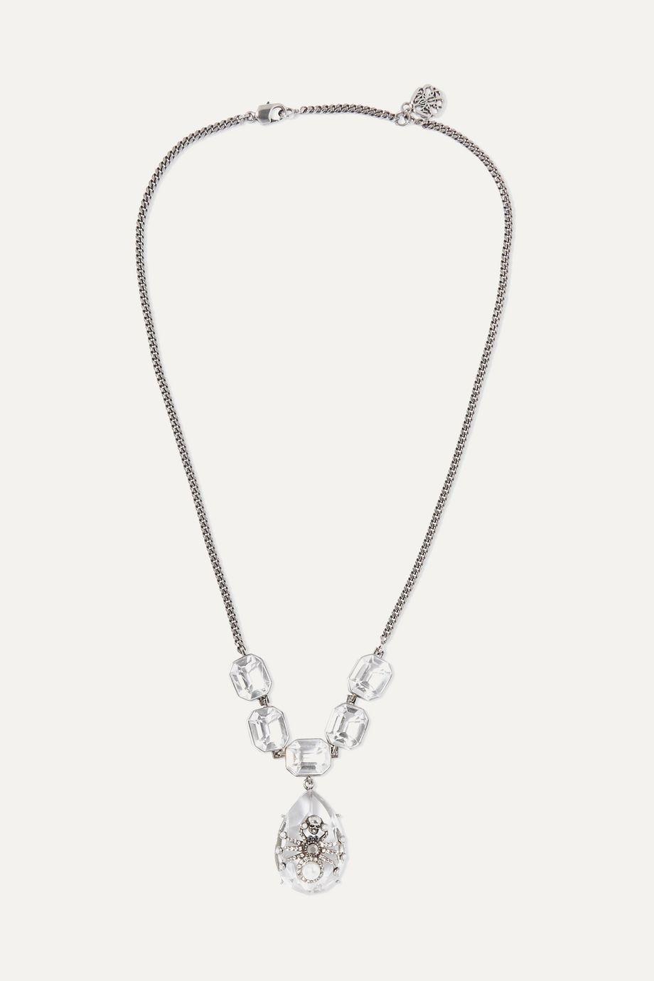 Alexander McQueen Collier en métal argenté, cristaux et perles synthétiques