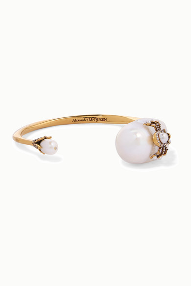 Gold Tone, Pearl, And Swarovski Crystal Cuff by Alexander Mc Queen