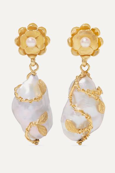 OF RARE ORIGIN | Of Rare Origin - Hedera Gold Vermeil Pearl Earrings - One Size | Goxip