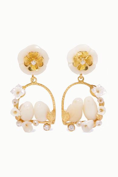 OF RARE ORIGIN | Of Rare Origin - Inseparables Gold Vermeil Multi-Stone Earrings - White | Goxip