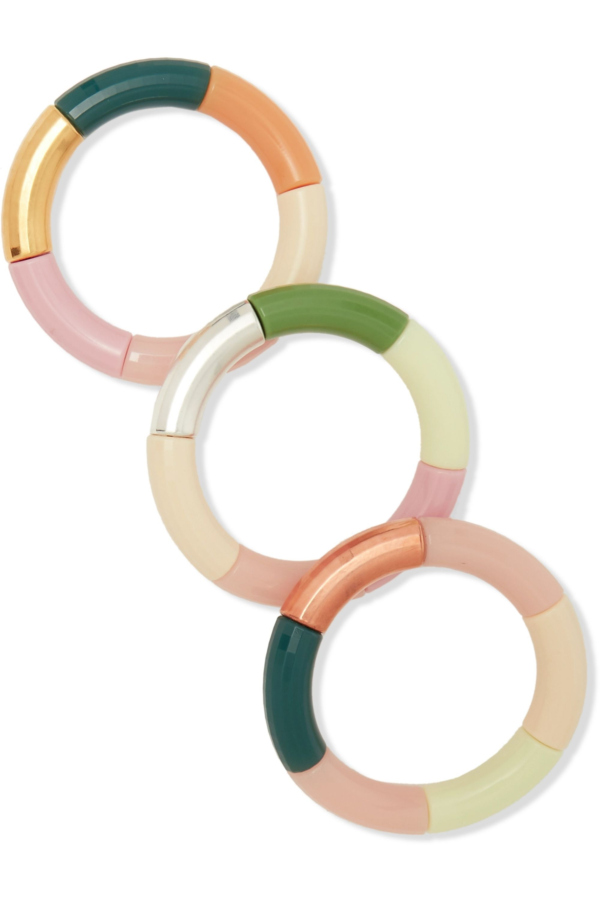 Kyoto Tango Set of three resin, gold and silver-plated bangles