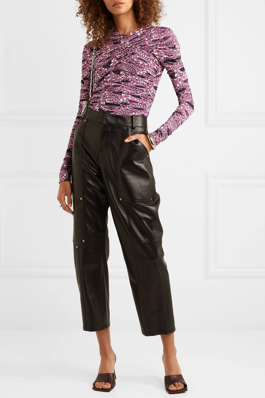 Isabel Marant Jany ruched printed stretch-jersey top