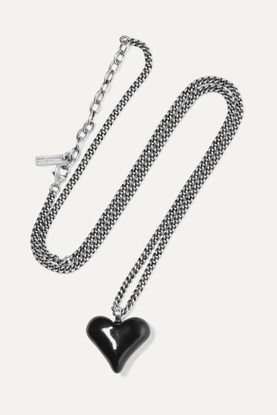 42c18e35d62 SAINT LAURENT | Silver-tone and enamel necklace | NET-A-PORTER.COM