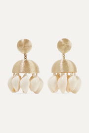 + Aquazzura Riviera cord, bead and shell clip earrings