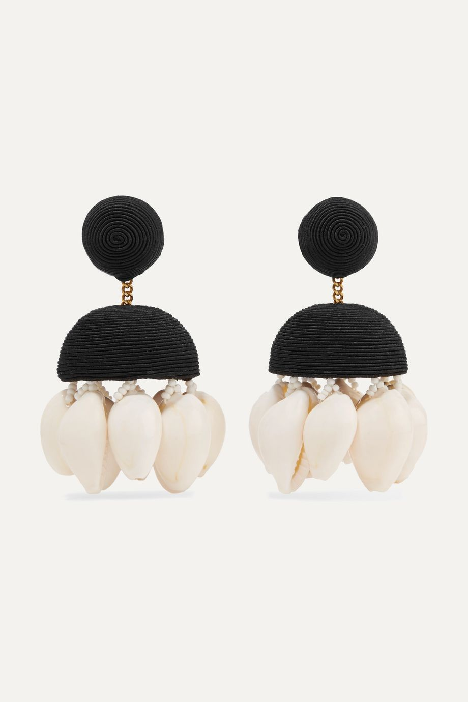 Rebecca de Ravenel + Aquazzura Riviera cord, bead and shell clip earrings