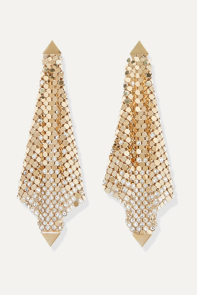 Gold Tone Crystal Earrings by Paco Rabanne