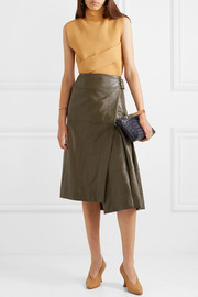 Cédric Charlier Glossed faux leather wrap midi skirt