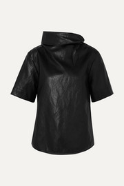 Cropped tie-detailed faux leather T-shirt