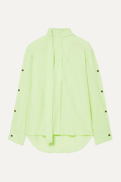 Cedric Charlier Pussy-Bow Crepe De Chine Blouse In Sage Green