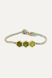 Brooke Gregson Triple Hex 18-karat gold, silk and tourmaline bracelet