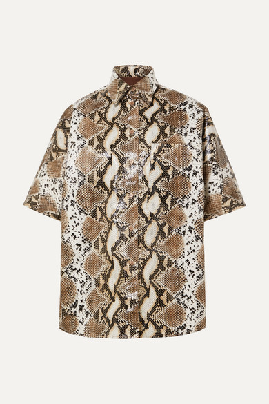 Snake Effect Faux Leather Shirt by Pushbutton