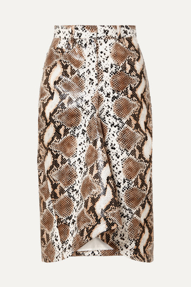 Snake Effect Faux Leather Skirt by Pushbutton