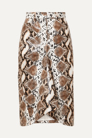 Pushbutton Snake-effect faux leather skirt