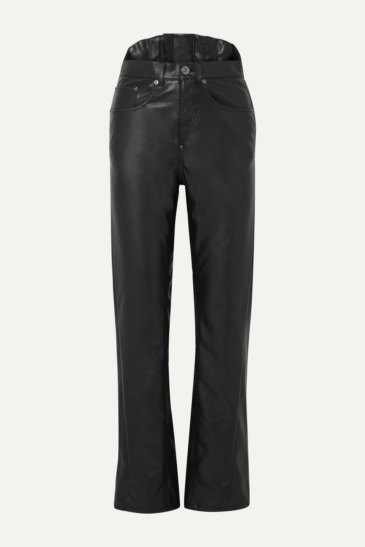 Pushbutton Faux leather slim-leg pants