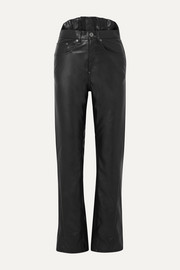 Pushbutton Faux leather slim-leg pants