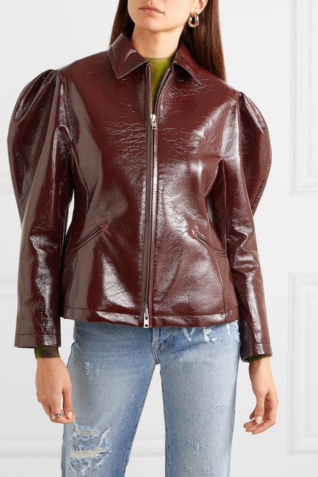 Glossed faux leather jacket